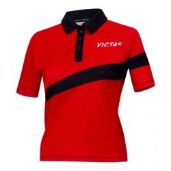 Victas V-Ladyshirt 217 rood-zwart